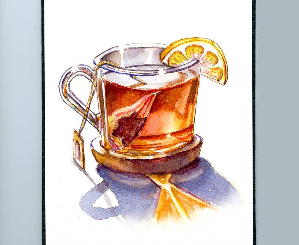 Tea With Lemon Watercolor Illustration Sketchbook Detail