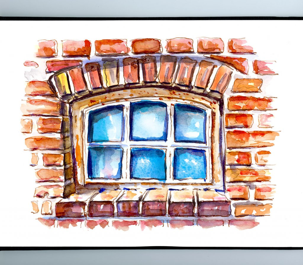 Brick Window Watercolor Illustration Sketchbook Detail