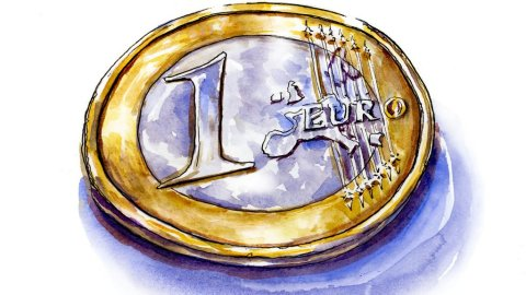 Euro Coin Watercolor Illustration