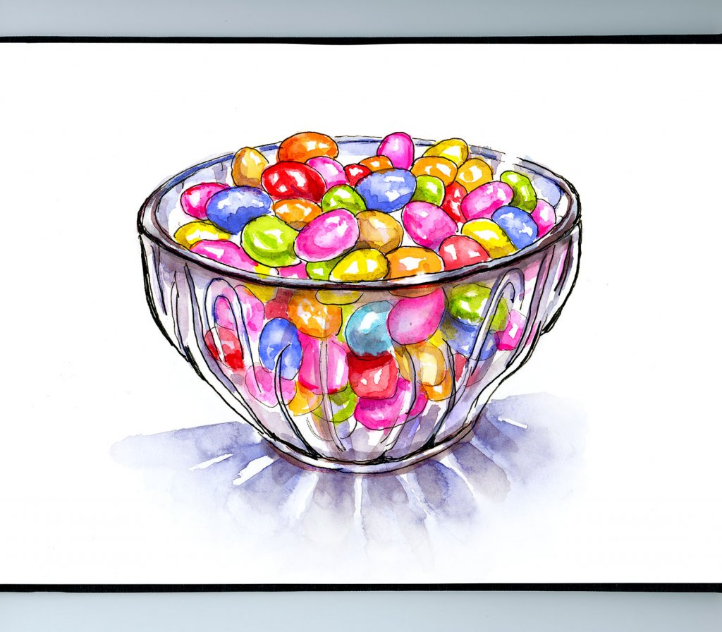 Candy Bowl Jelly Beans Watercolor Illustration Sketchbook Detail