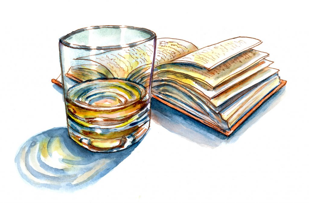Light Night Reading Book Drink Watercolor Illustration