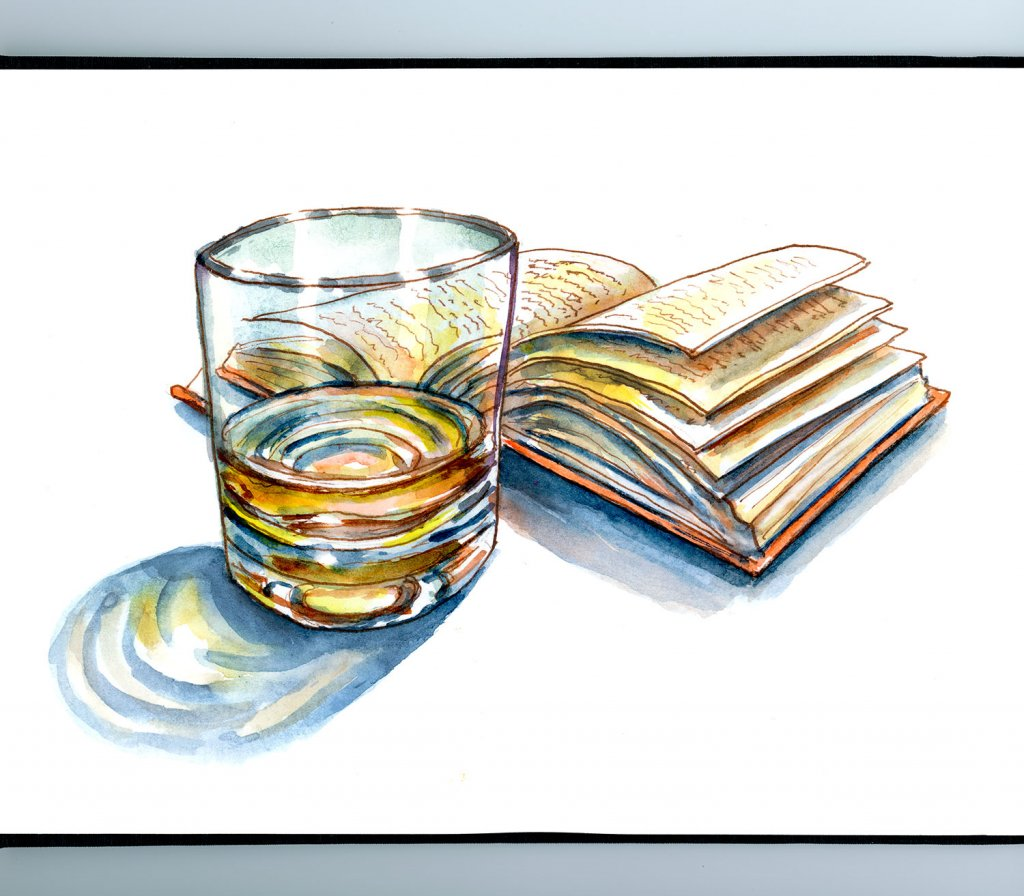 Light Night Reading Book Drink Watercolor Illustration Sketchbook Detail