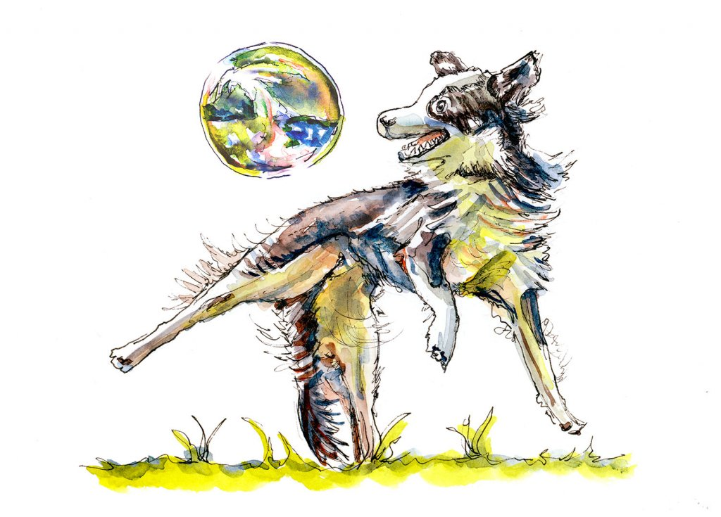 Dog Playing With Soap Bubbles Watercolor Illustration