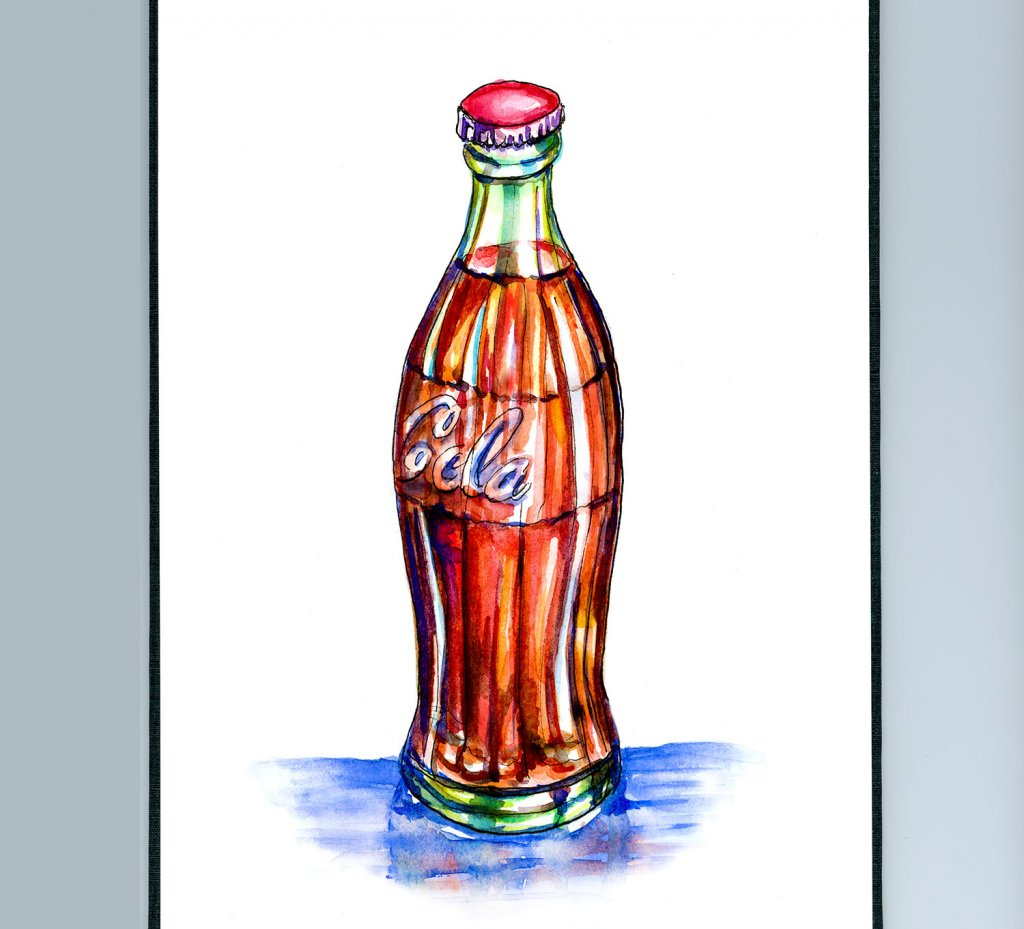 Cola Bottle Watercolor Illustration Sketchbook Detail