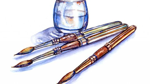 Travel Brushes Watercolor Illustration