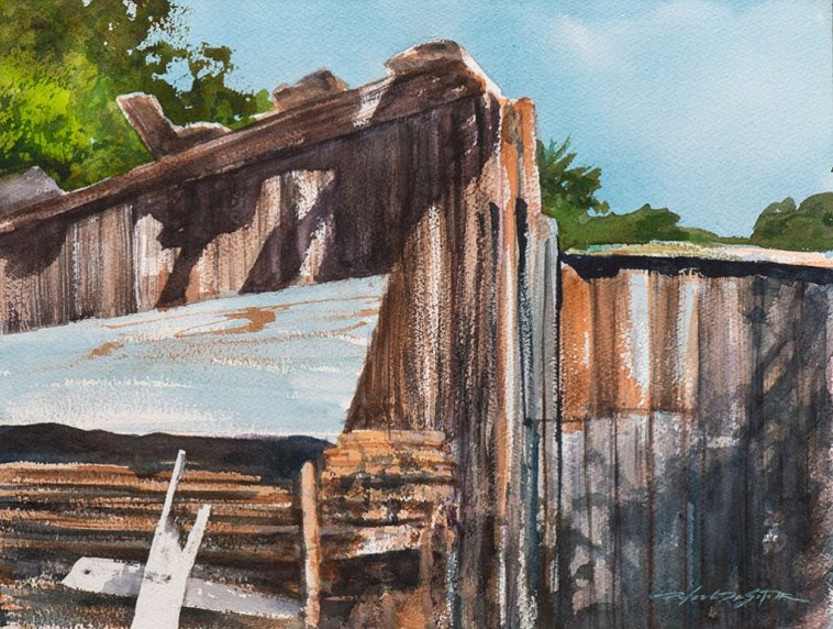 Daylight on Woodshed Watercolour Painting by by Rafael DeSoto Jr
