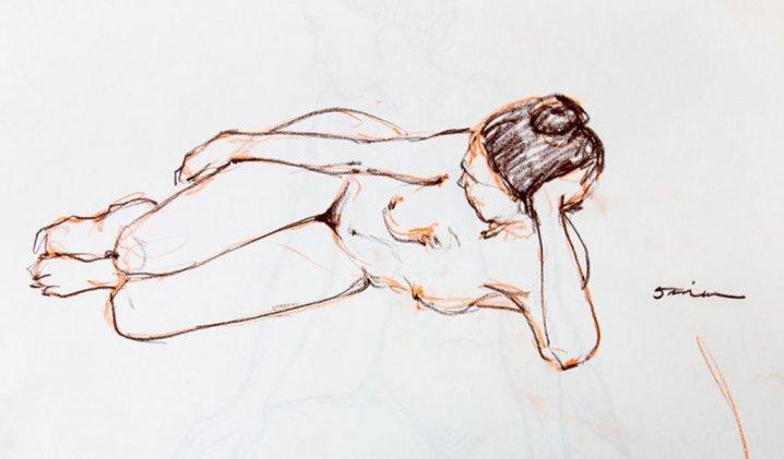 Nude Woman Drawing Sketching by by Rafael DeSoto Jr