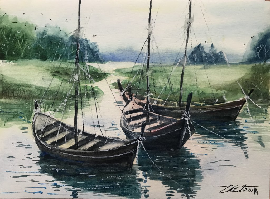Title : A rowboat\'s friends. Technique : W&N cotman on 100% cotton paper . Size : 23cm. x