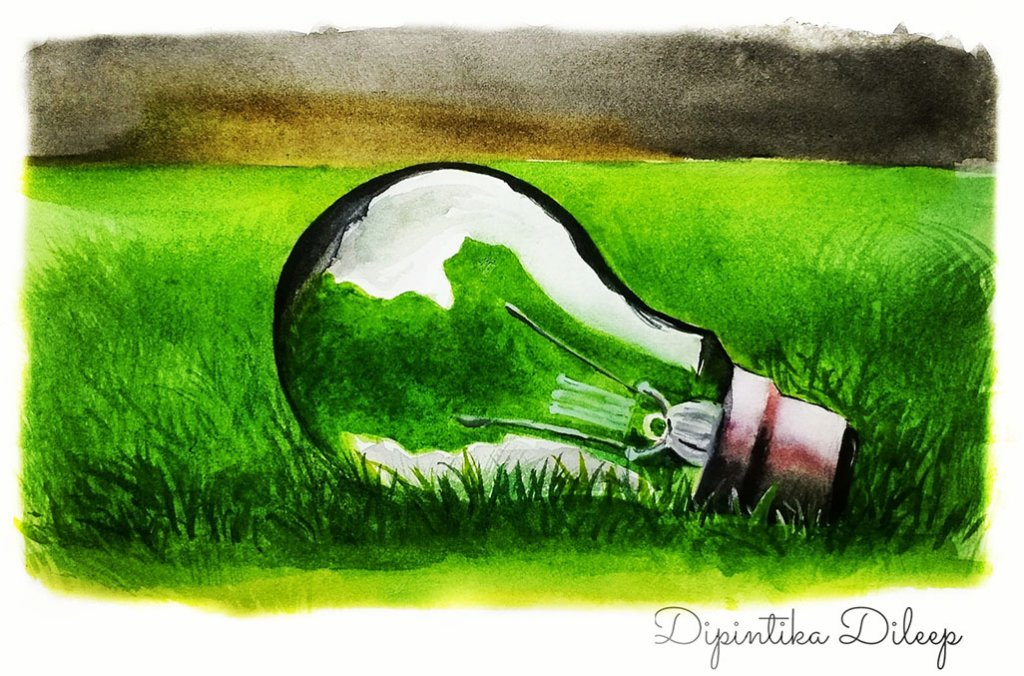 Lightbulb Watercolor Illustration by Dipintika Dileep