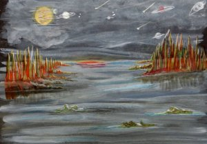 World Watercolor Group™ MOONLIGHT ON THE WILDERNESS Done on the back cover on a Fat Pad with