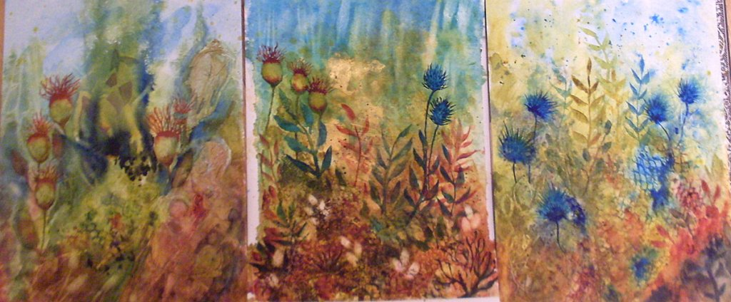 I've been playing with earth tones and blues and greens and created 3 Undersea Garden painting