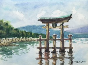 Title : Itsukushima Shrine, Japan. Technique : W&N cotman on 100% cotton paper . Size : 23cm. x