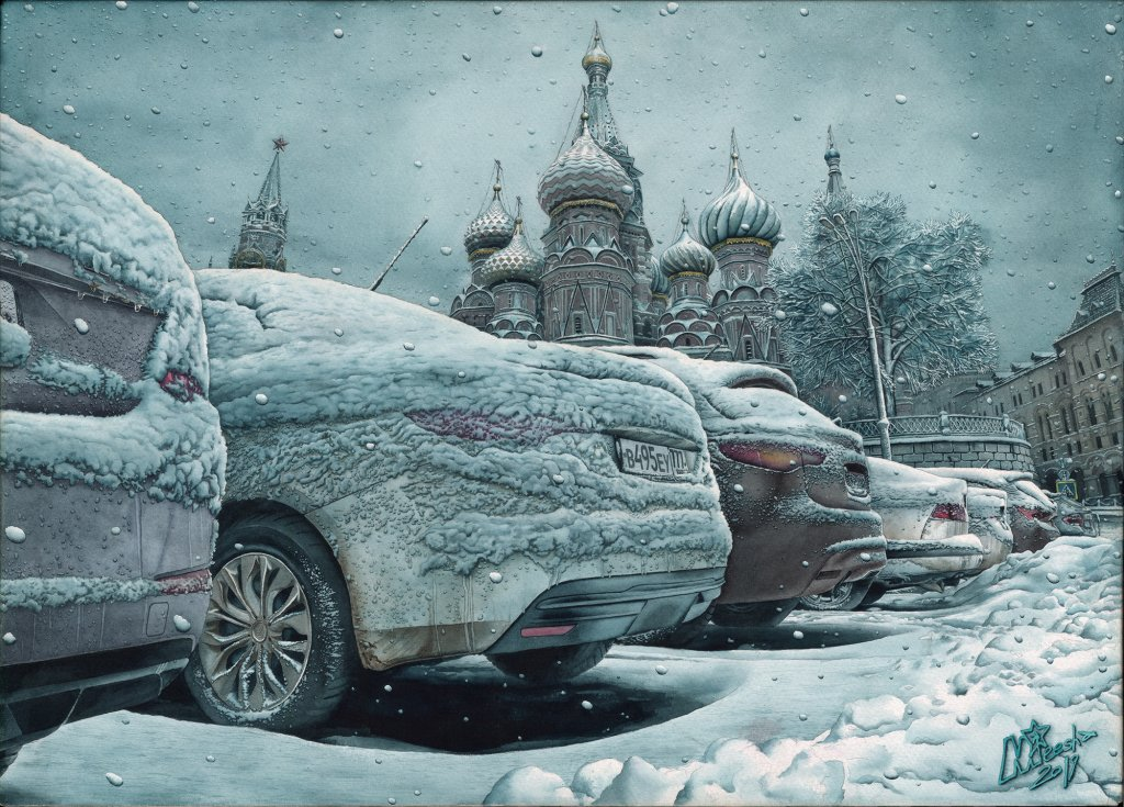 Vasilyevsky. 50x70cm. Watercolor , Saunders Waterford 300gsm paper. Mikhail Starchenko 2019 Vasilyev