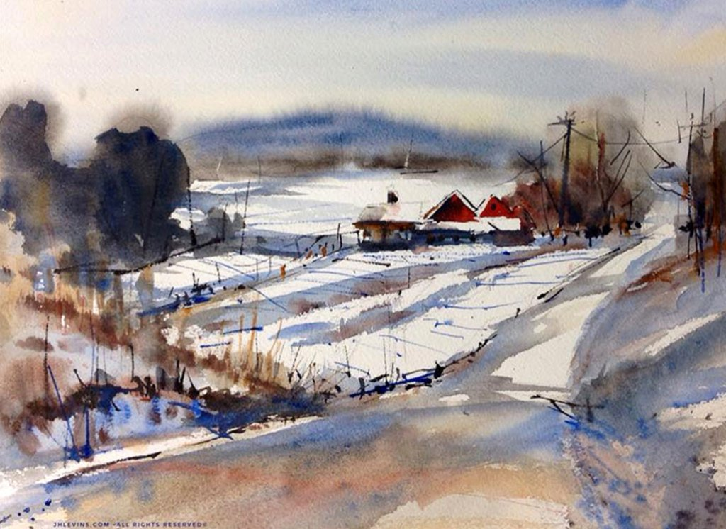 Winter Travels Watercolor Painting by Judith Haynes Levins