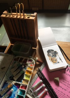 Art Supplies and Sketch of Dog by Alaiyo Bradshaw