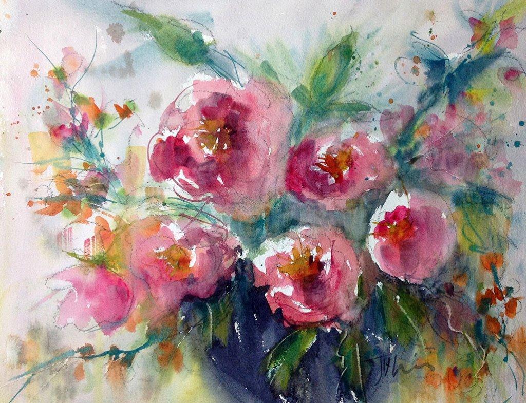 Pink Flowers Watercolor Painting by Judith Haynes Levins