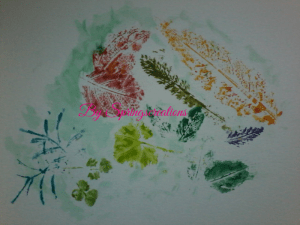 I collected some leaves from my garden today to make leaf prints. The blue ones to the far left are