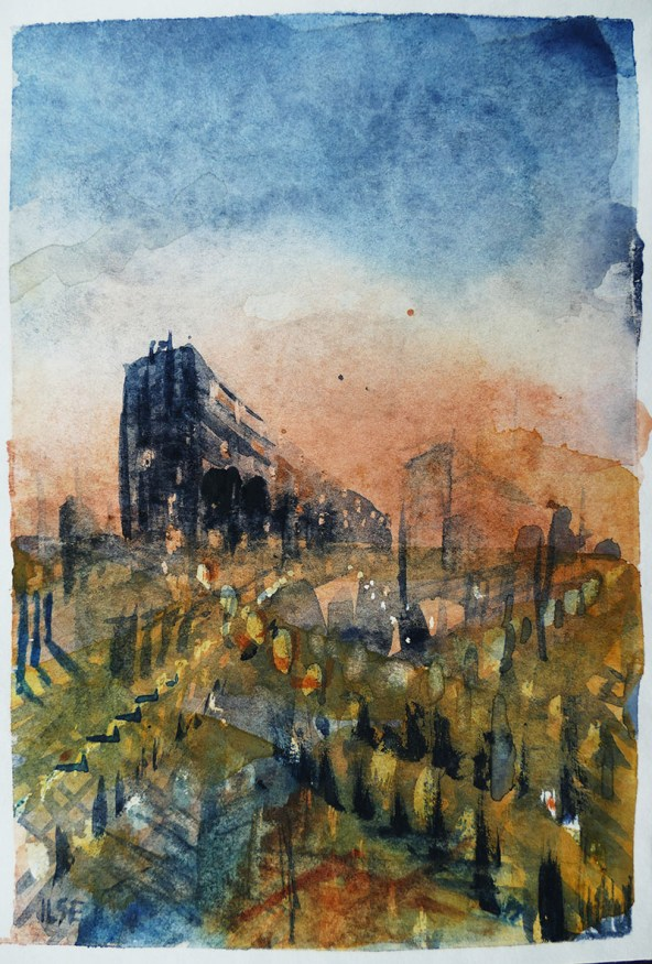 stad watercolour painting by Ilse Hviid