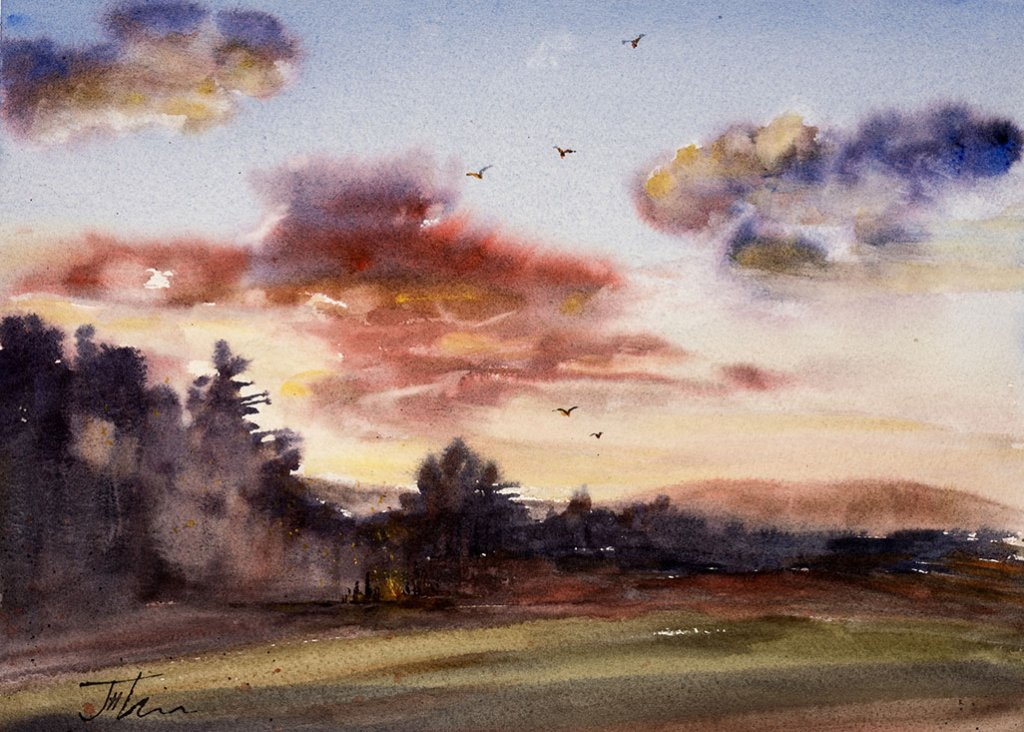 Sunset Bonfire Watercolor Painting by Judith Haynes Levins