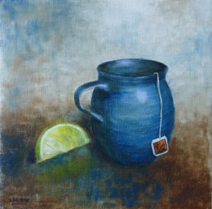 """Theme of the day is tea. This is an oil-painting, title \""""Tea party\"""" made about a year"""