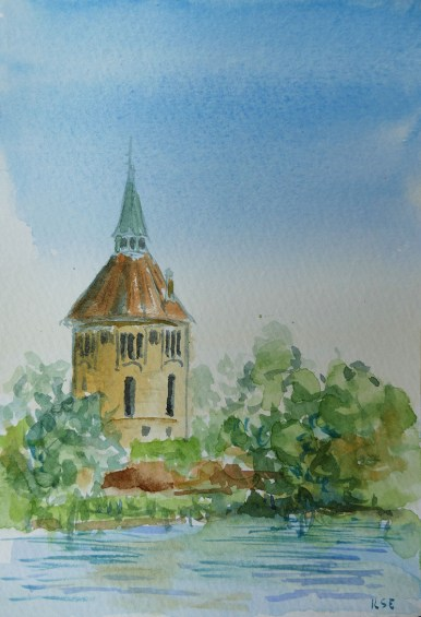 vattentornet watercolour painting by Ilse Hviid
