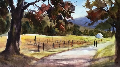 Wine Country Watercolor Painting by Judith Haynes Levins