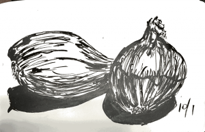 #inktober2019. Thought I had an onion, but I guess it has made its way into someone's salad or san