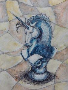 Blue unicorn. Day 15 #doodlewashOctober2019 20191015_130316