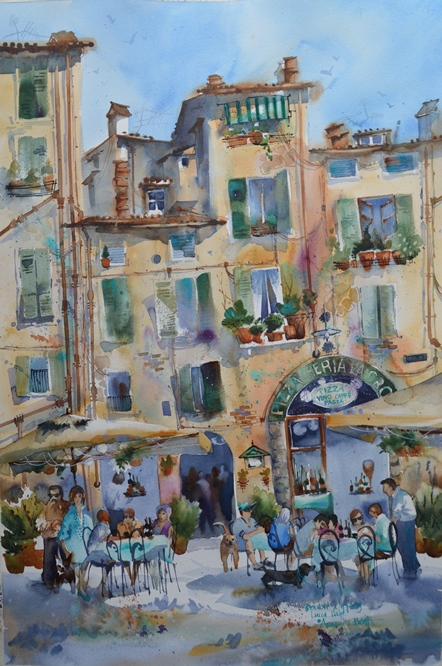 This is Double-Dipping – a favourite scene from my painting residencies in Lucca Italy Amanda