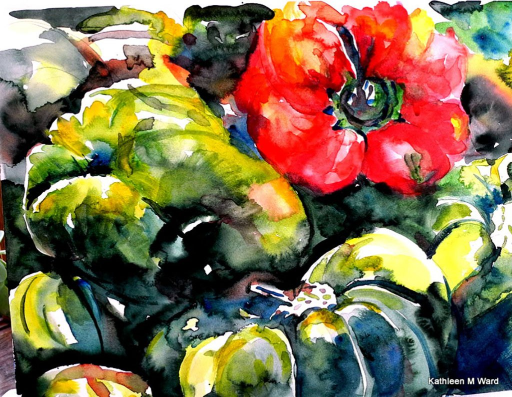 Bell Peppers Watercolor Painting Kathleen M Ward