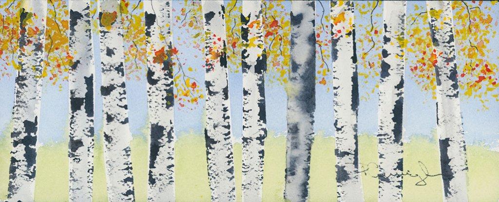 Birch Trees watercolor Brenda Cunningham