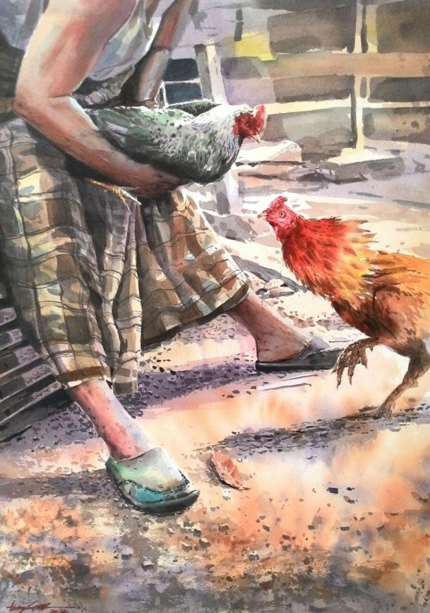 COCK FIGHTER watercolour by Abey Zoul