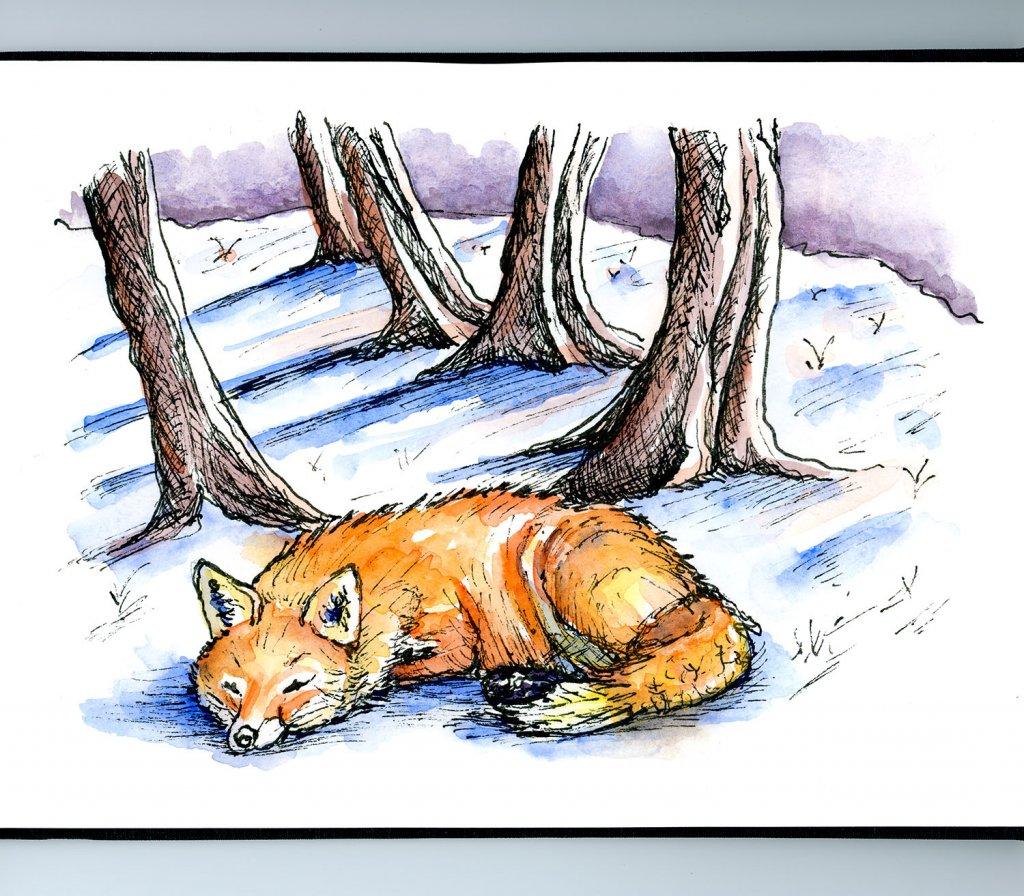 Fox Snow Scene Watercolor Illustration Sketchbook Detail
