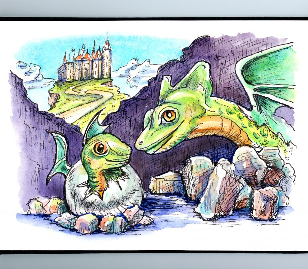 Dragon Baby And Mother Watercolor Illustration Sketchbook Detail