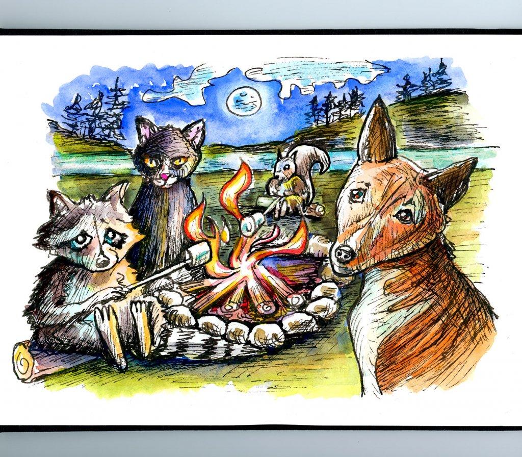 Animals Bonfire Campfire Watercolor Illustration Sketchbook Detail