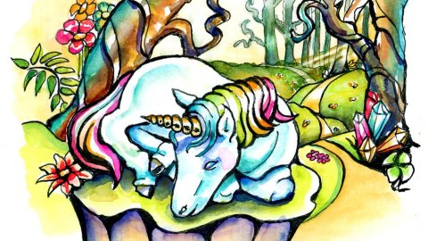Baby Unicorn Watercolor Illustration