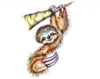 Sloth On Tree Branch Watercolor Illustration