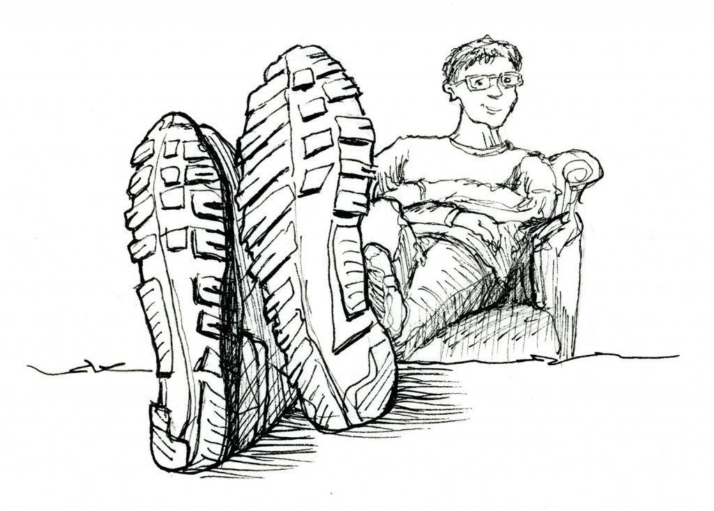 Shoes Foreshortening Man Couch Inktober 2019 Illustration
