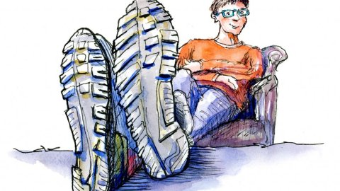 Shoes Foreshortening Man Couch Watercolor Illustration