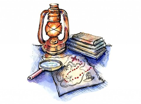 Treasure Map Lantern Magnifying Glass Watercolor Illustration