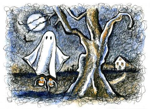 Little Ghost Moonlight Tree Scene Watercolor Illustration