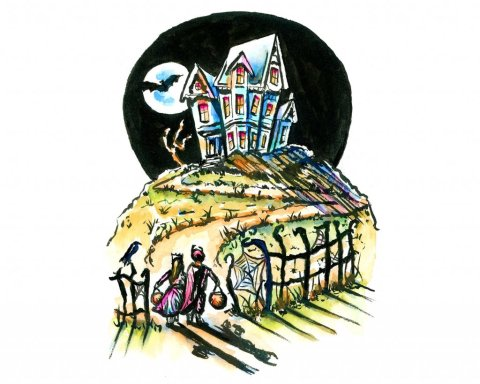 Haunted House Kids Trick Or Treat Watercolor Illustration