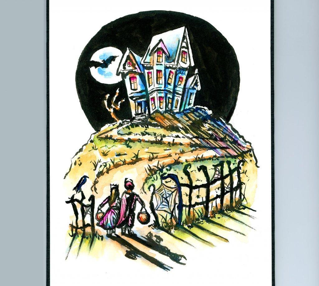 Haunted House Kids Trick Or Treat Watercolor Illustration Sketchbook Detail
