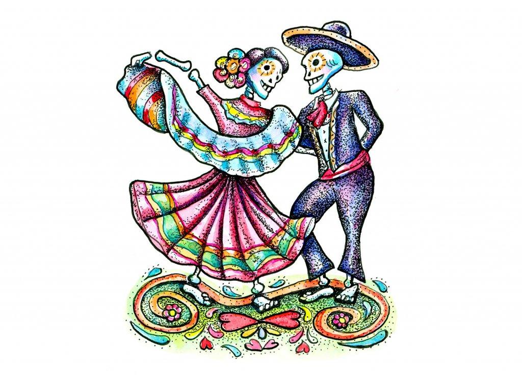 Dia De Los Muertos Day Of The Dead Dancing Skeletons Watercolor Illustration