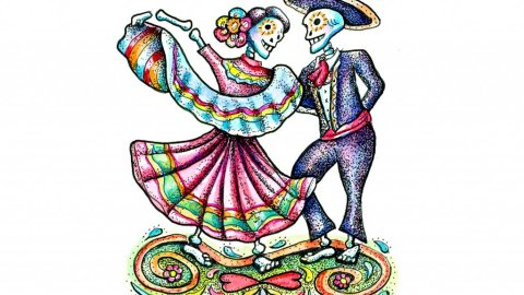 Dia De Los Muertos Day Of The Dead Dancing Skeletons Watercolor Illustration