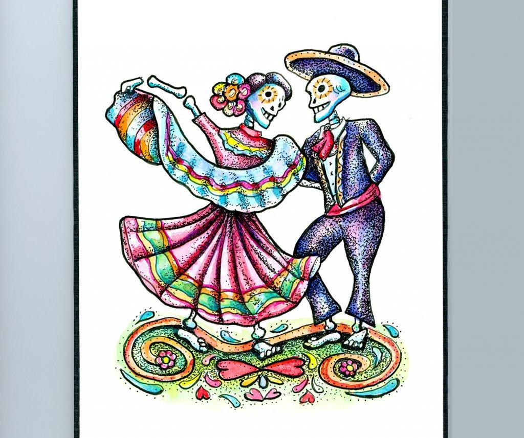 Dia De Los Muertos Day Of The Dead Dancing Skeletons Watercolor Illustration Sketchbook Detail