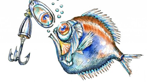 Allure Of Shiny Things Spinyfin Fish Watercolor Illustration