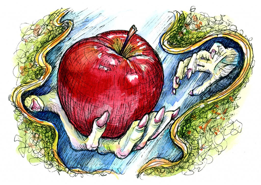 Snow White Witch Apple Inktober 2019 Watercolor