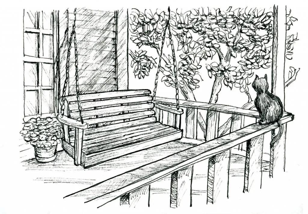 Front Porch Swing Inktober 2019 Illustration