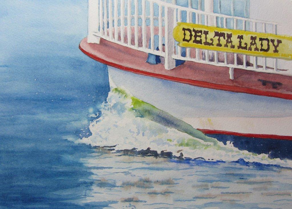 Delta Lady Boat watercolor Brenda Cunningham